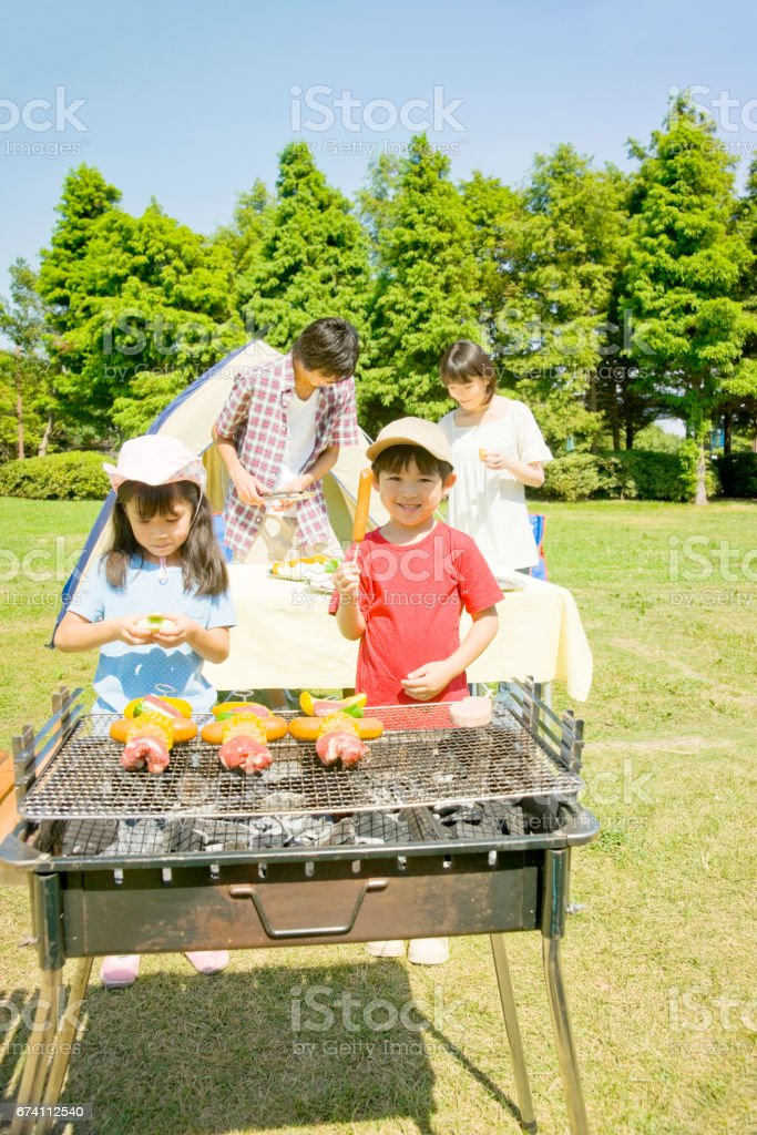 Prepare barbecue for family royalty-free stock photo