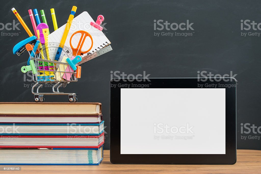 prepare the school supplies Digital Tablet for back to school stock photo