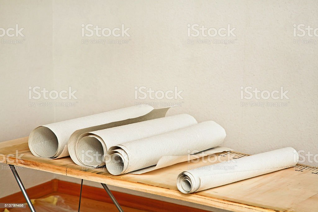 prepare to hanging wallpaper stock photo