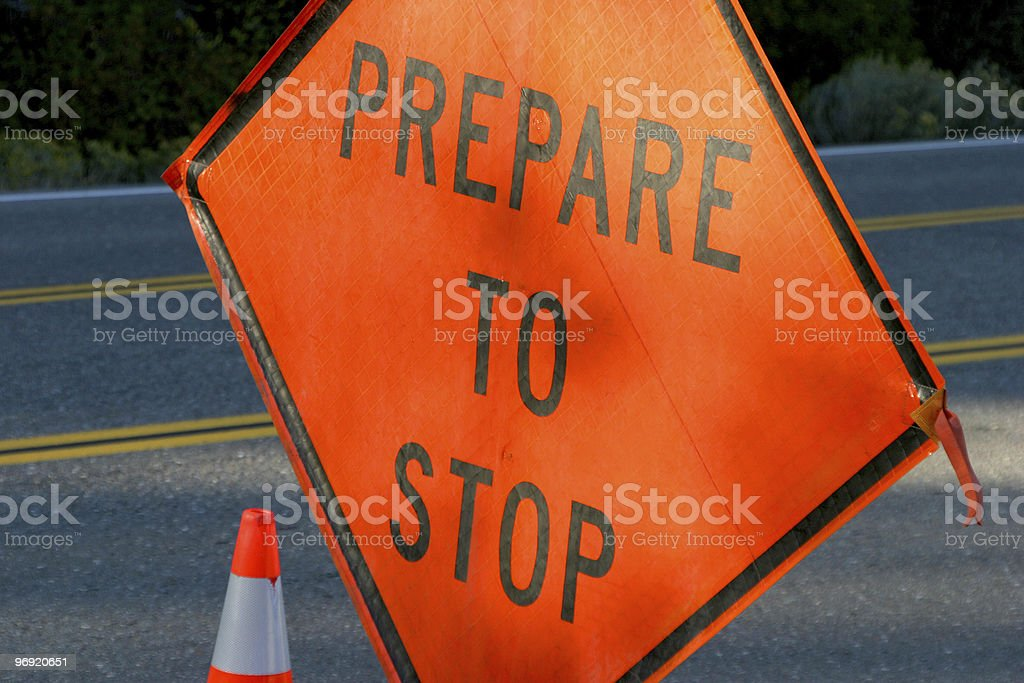 Prepare To Stop Sign royalty-free stock photo