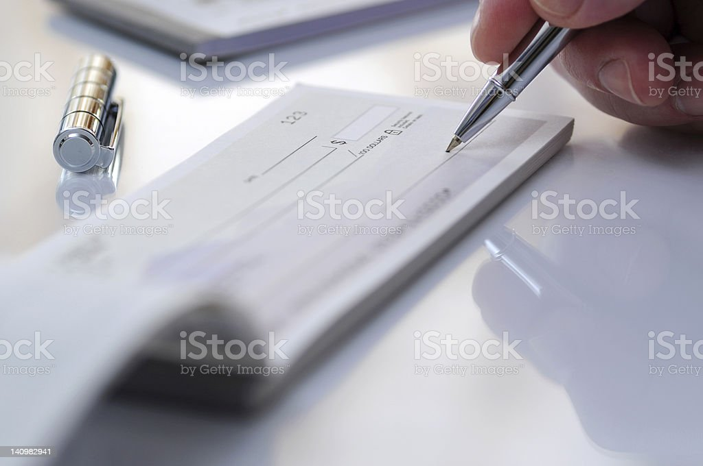 Prepare writing check stock photo