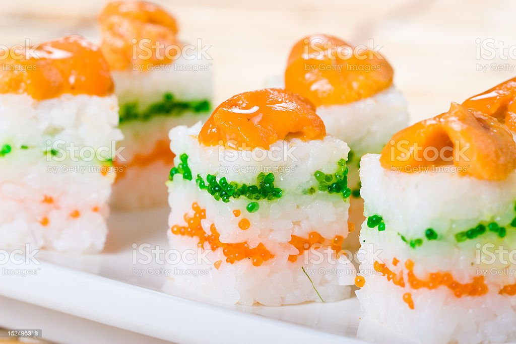 prepared and delicious urchin sushi royalty-free stock photo