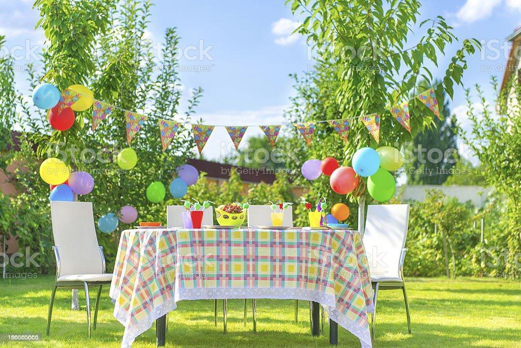 Prepared birthday table stock photo