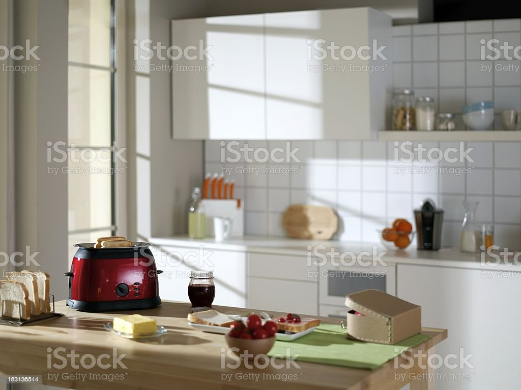 Prepared breakfast kitchen table royalty-free stock photo