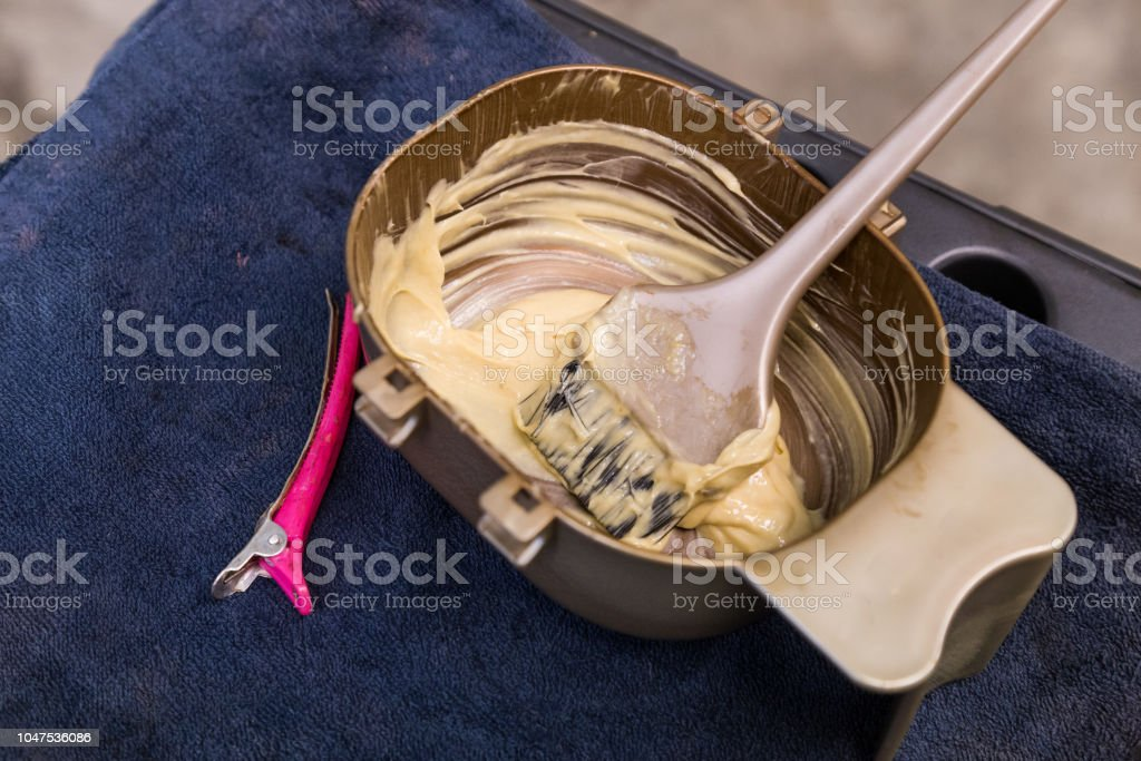 Prepared chemical mixed hair color before applying onto hair stock photo