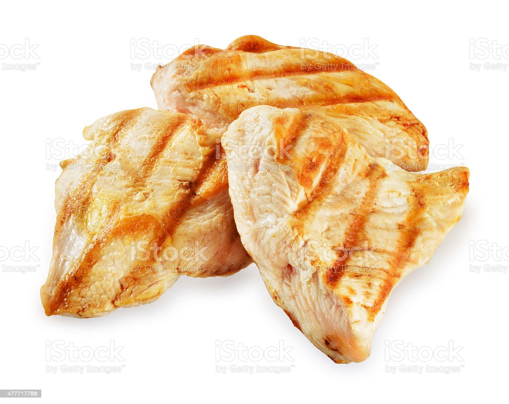 Prepared chicken meat. Breast fillet slices isolated. Clipping path. stock photo