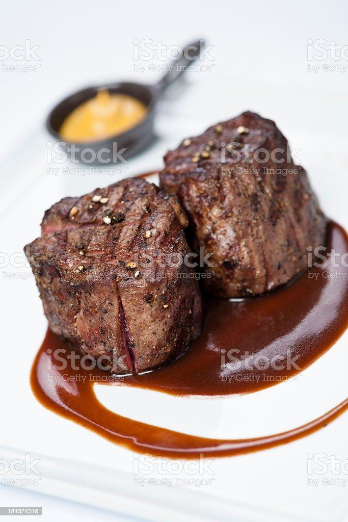 Prepared dinner of filet mignon stock photo