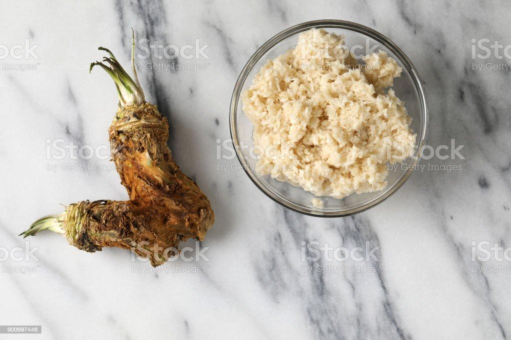 Prepared Horseradish And Horseradish Roots stock photo
