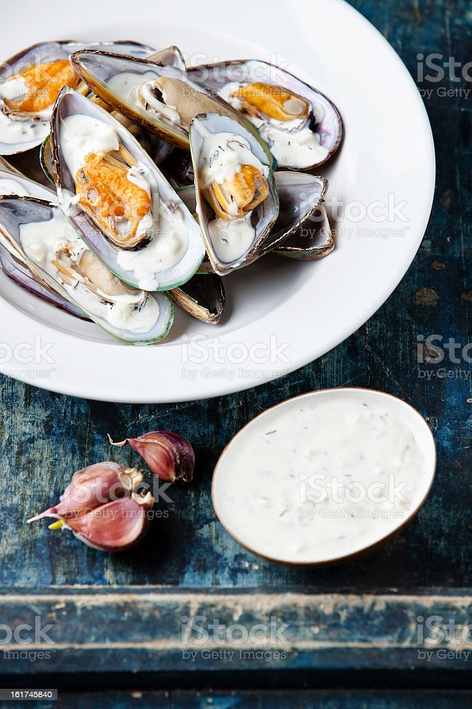 Prepared mussels royalty-free stock photo
