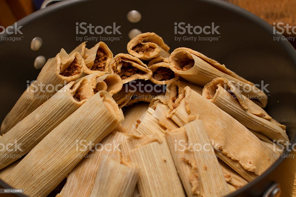 Prepared Pile of Tamales in Steaming in a Pot stock photo