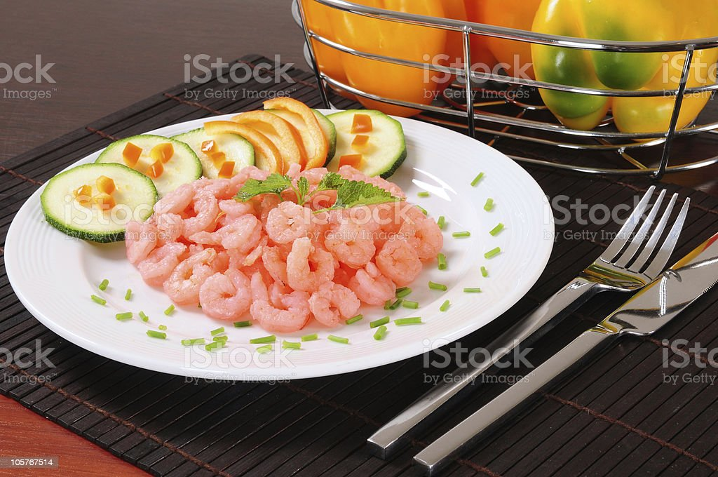 Prepared shrimp. royalty-free stock photo