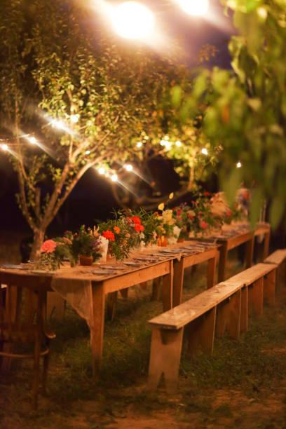 tabelle für ein rustikales abendessen im freien nachts mit lampen vorbereitet - romantischer abend stock-fotos und bilder
