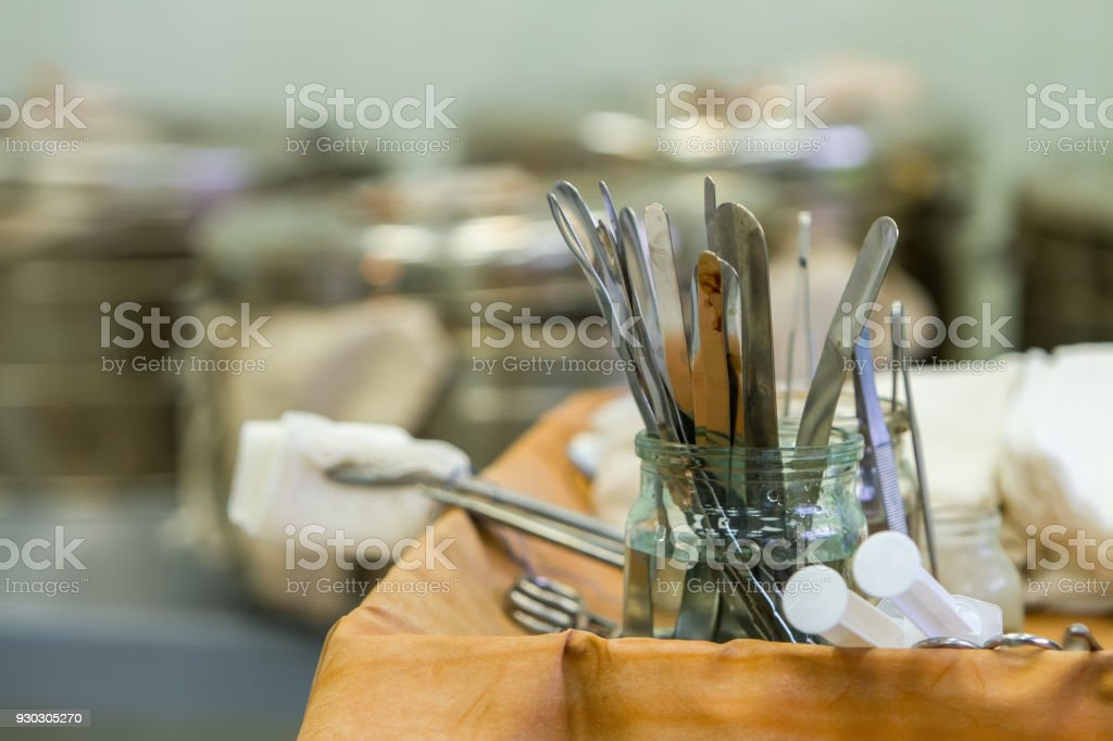 prepared tools before surgery stock photo