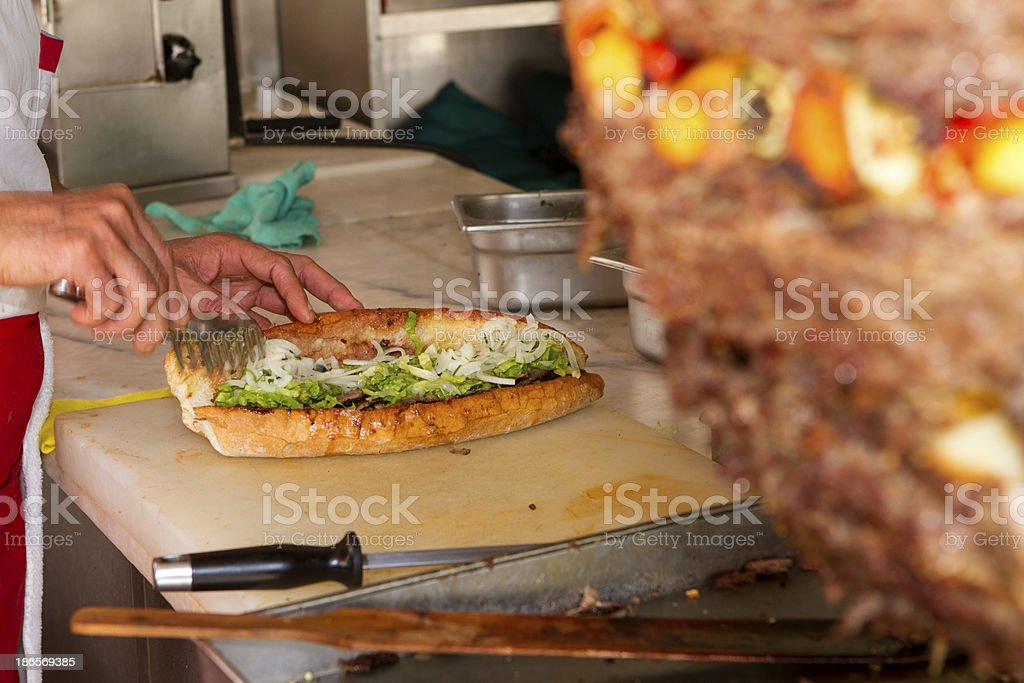 Preparing a Doner Kebab stock photo