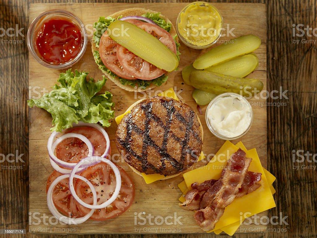 Preparing a Hamburger stock photo