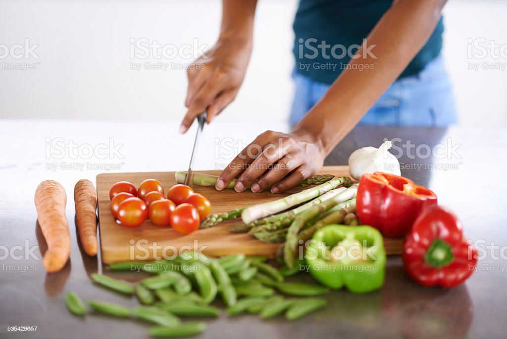 Preparing a healthy and wholesome meal stock photo
