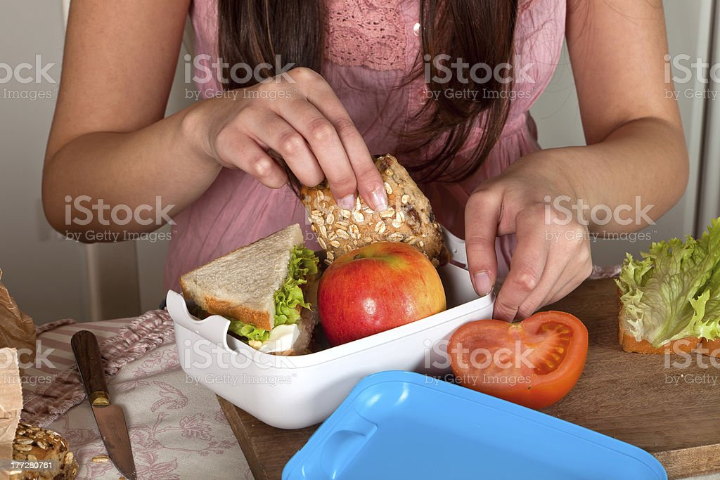Preparing a lunchbox stock photo