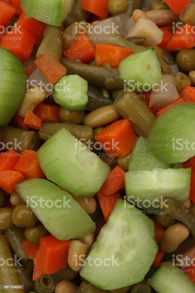Preparing a Macedonian salad in the kitchen stock photo