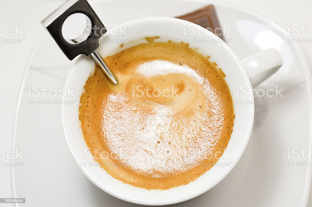 preparing a nespresso coffee cup royalty-free stock photo