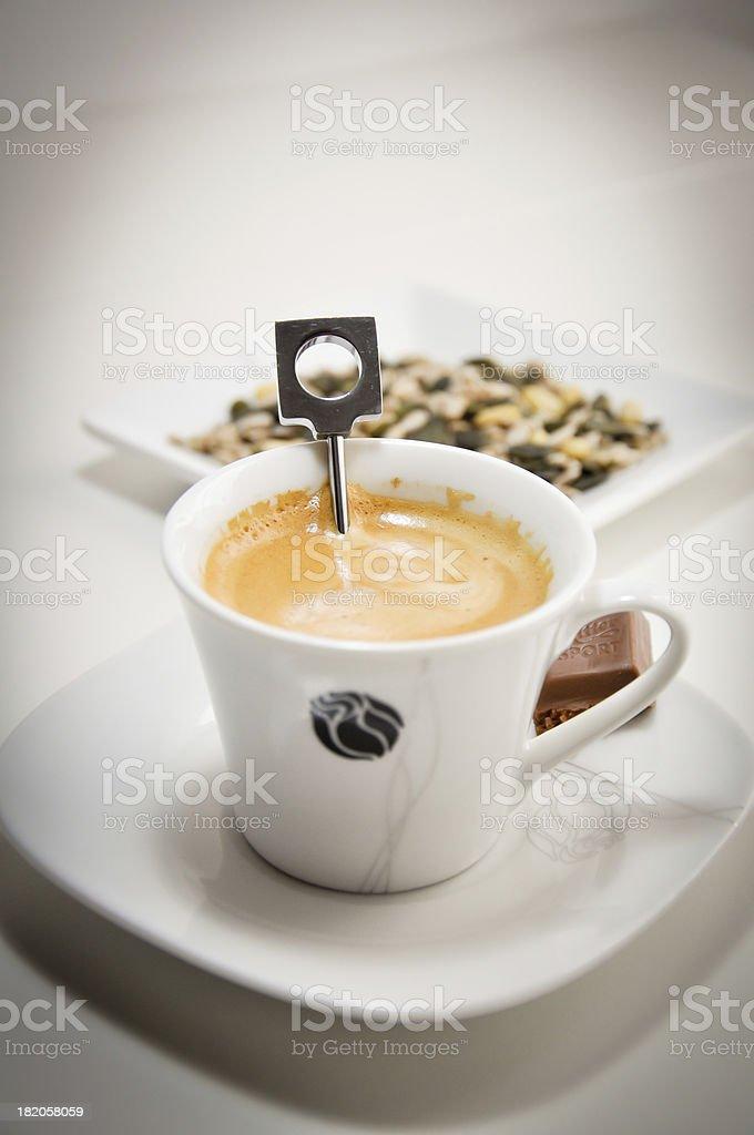 preparing a nespresso coffee cup stock photo