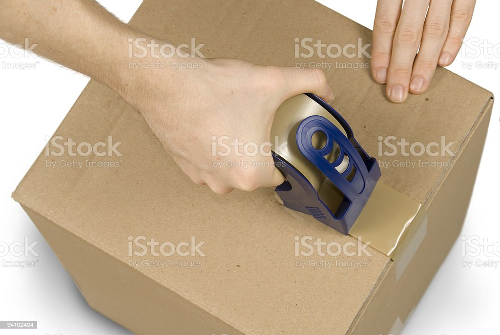 Preparing a packet stock photo