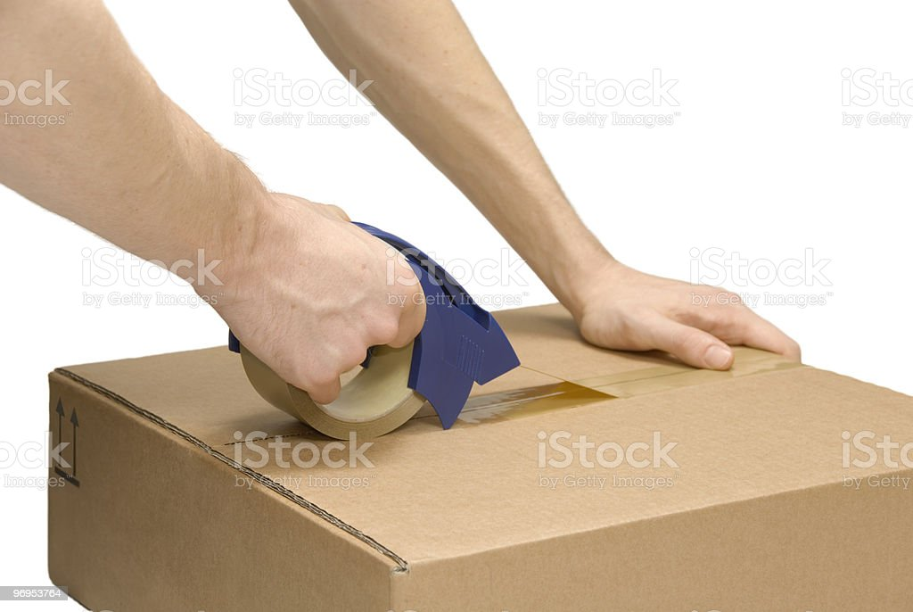 Preparing a packet royalty-free stock photo