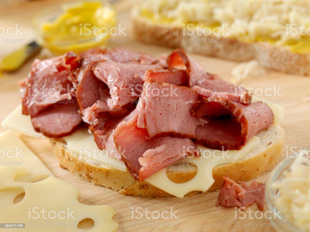 Preparing a Reuben Sandwich stock photo