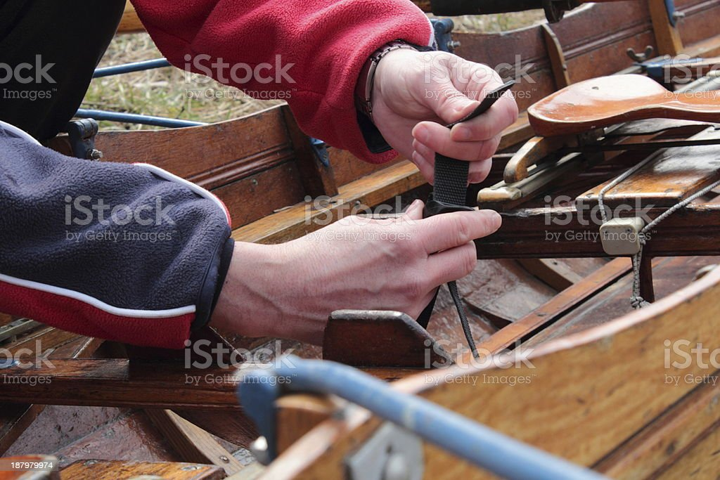Preparing a row boat royalty-free stock photo