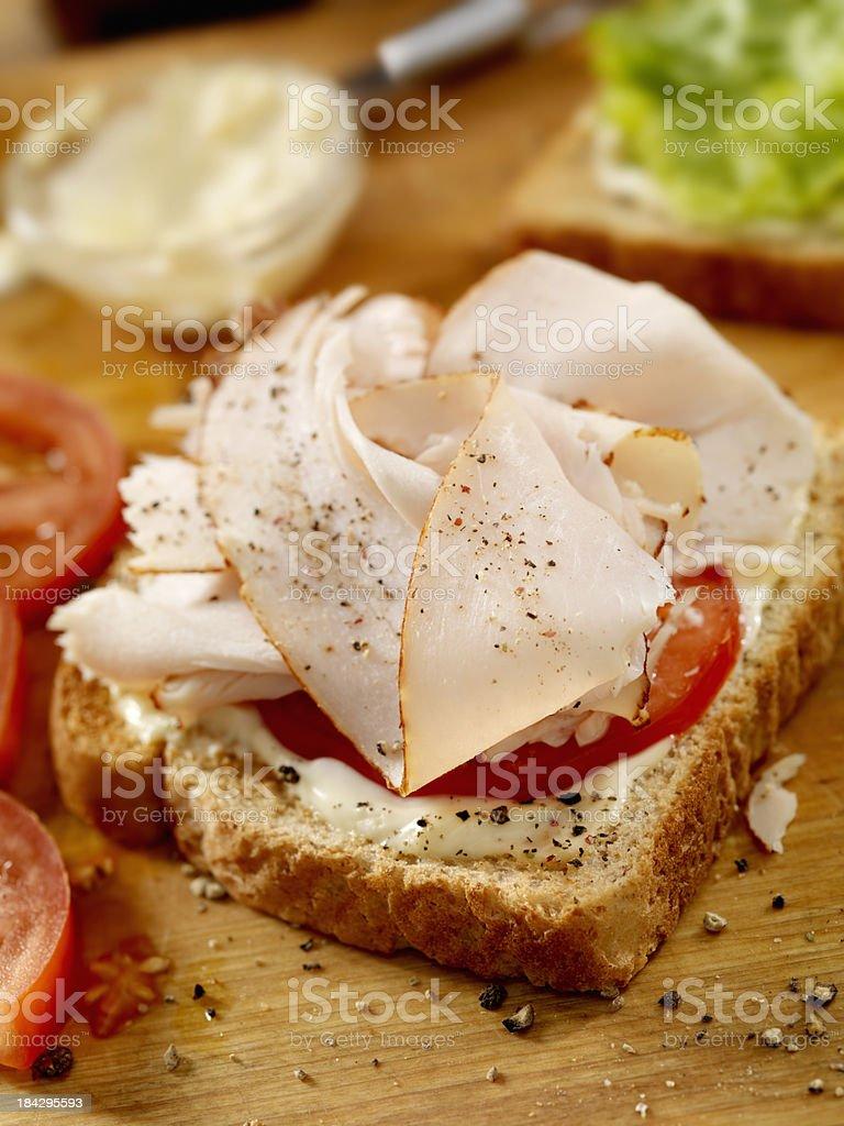 Preparing a Turkey Sandwich stock photo
