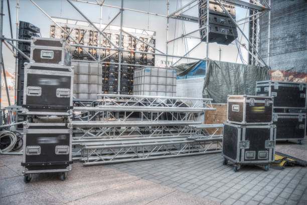 Preparing an stage for a concert stock photo