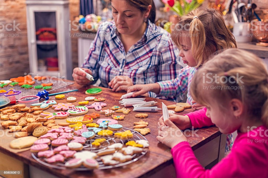 Preparing and Baking Easter Cookies royalty-free stock photo