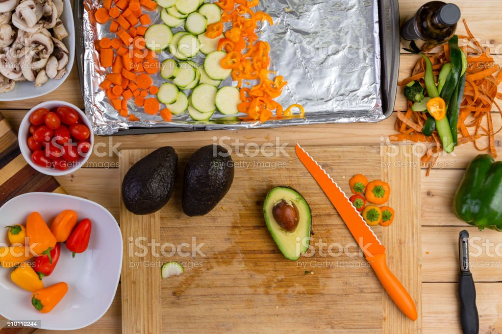 Preparing assorted fresh vegetables for cooking stock photo