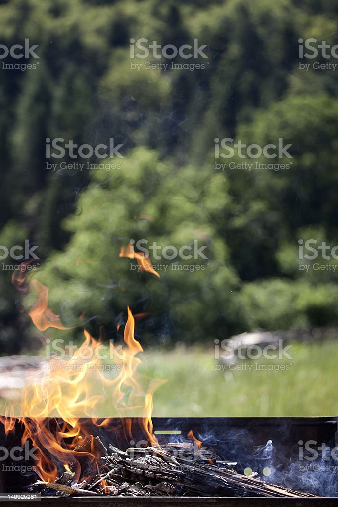 preparing BBQ stock photo