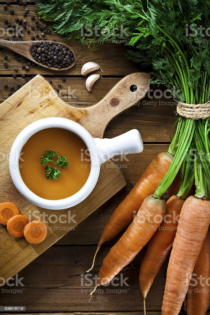Vorbereitung Karottensuppe – Foto