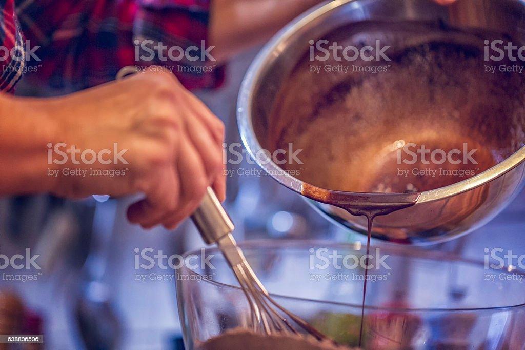 Preparing Chocolate Cake Batter stock photo