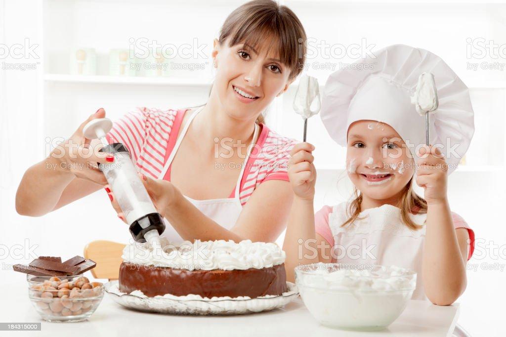 Preparing chocolate cake royalty-free stock photo