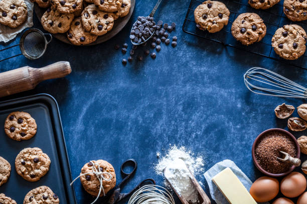 Preparing chocolate chip cookies stock photo
