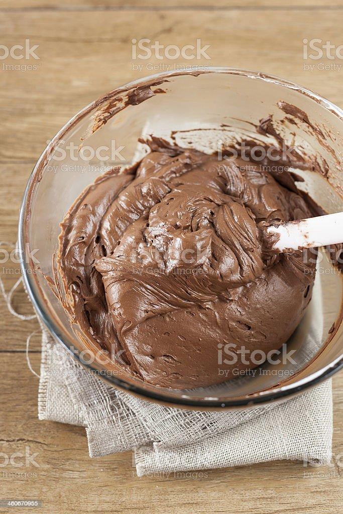 Preparing Chocolate Cream for the Cake stock photo