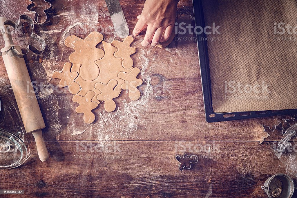 Preparing Christmas Cookies in Domestic Kitchen stock photo