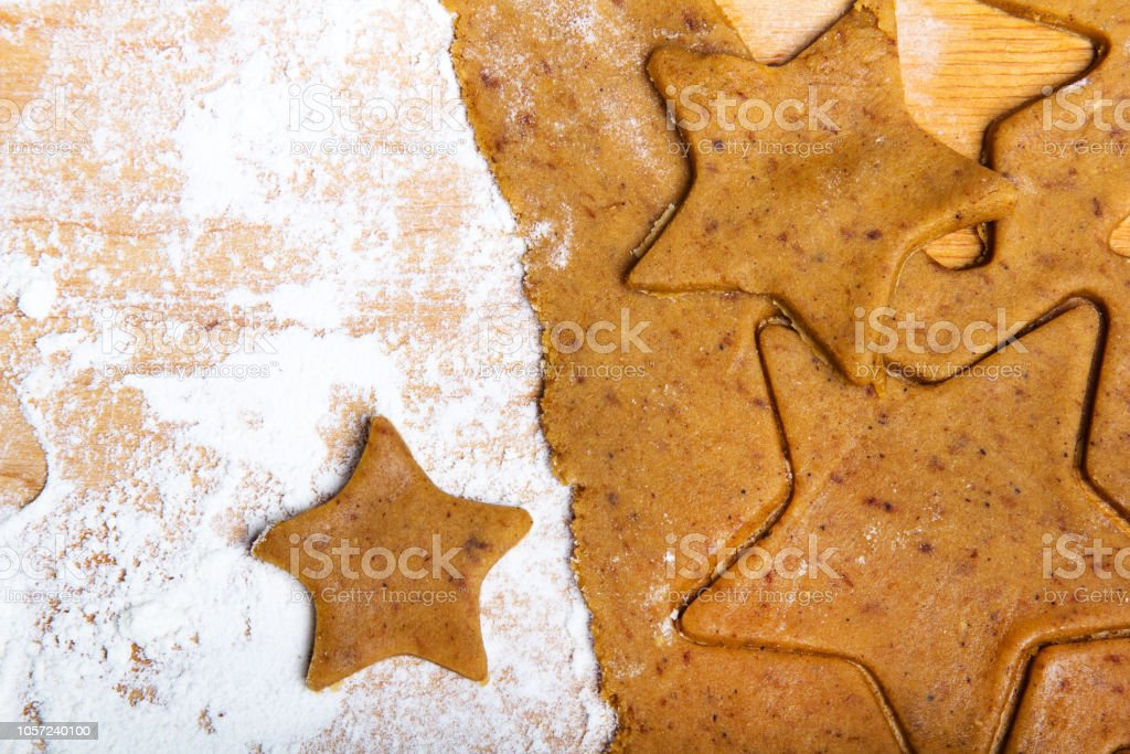 Preparing Christmas Gingerbread Cookies Gingerbread Dough And Star Shape Cookies Ingredients Stock Photo Download Image Now