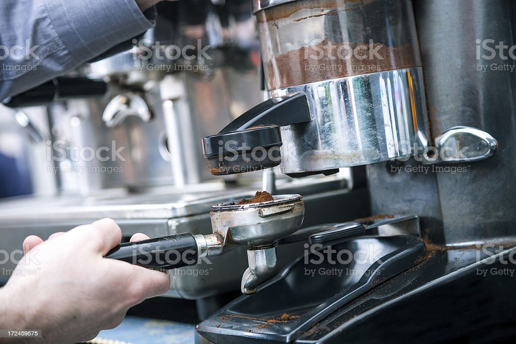 Preparing coffee in a cafe royalty-free stock photo