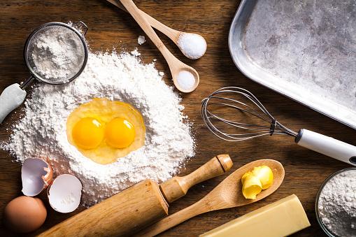 Preparing dough for baking