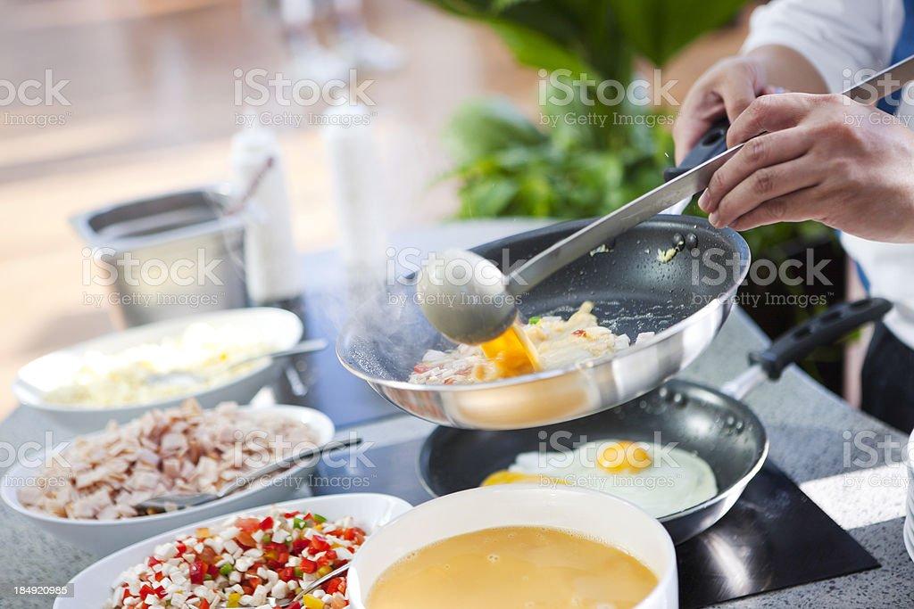 Preparing eggs royalty-free stock photo