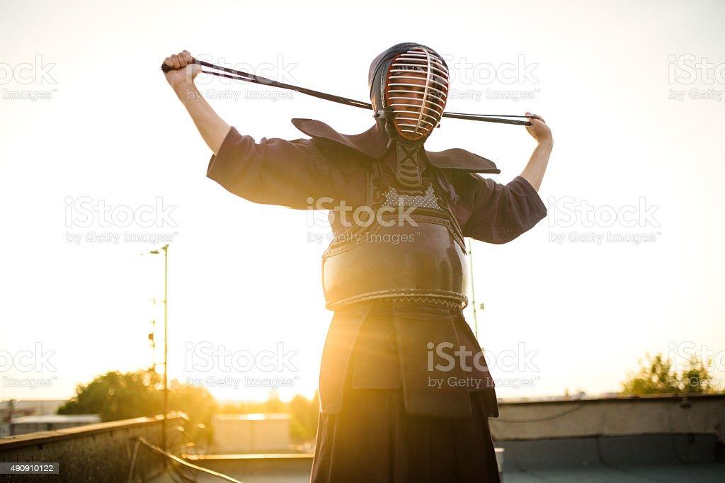 Preparing equipment for Kendo stock photo