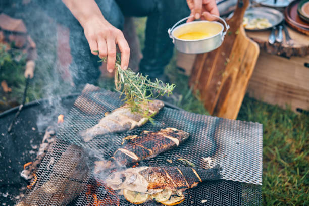 Preparing Fish for Cooking Over Open Campfire Preparing Fish for Cooking Over Open Campfire log fire stock pictures, royalty-free photos & images
