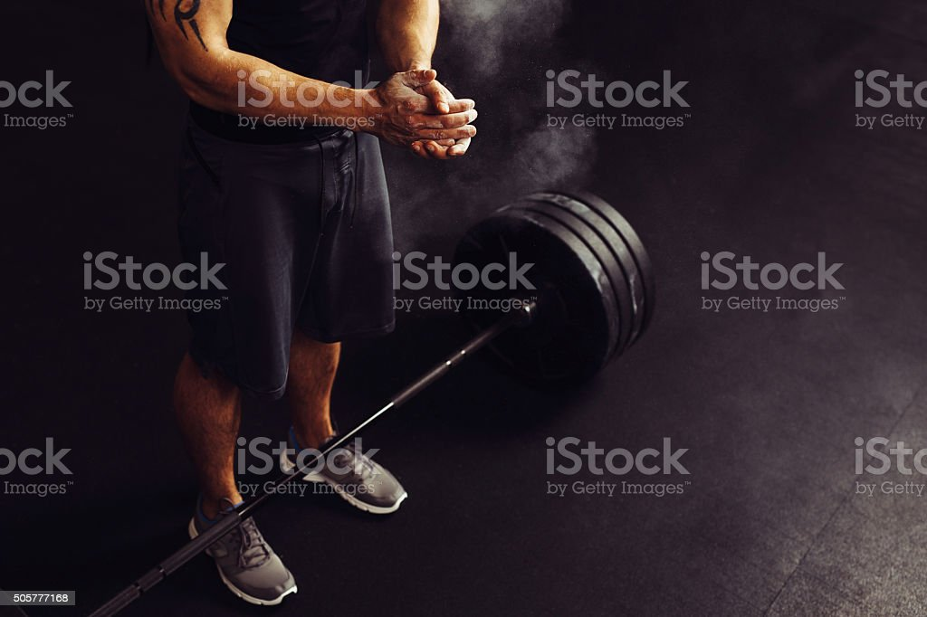 Preparing for deadlift stock photo