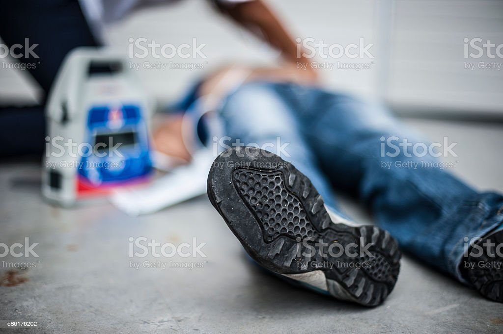 Preparing for defibrillation royalty-free stock photo