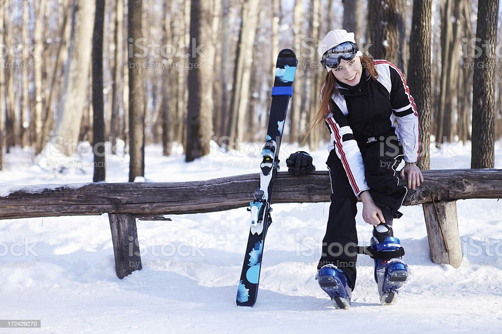 Preparing for downhill skiing. royalty-free stock photo