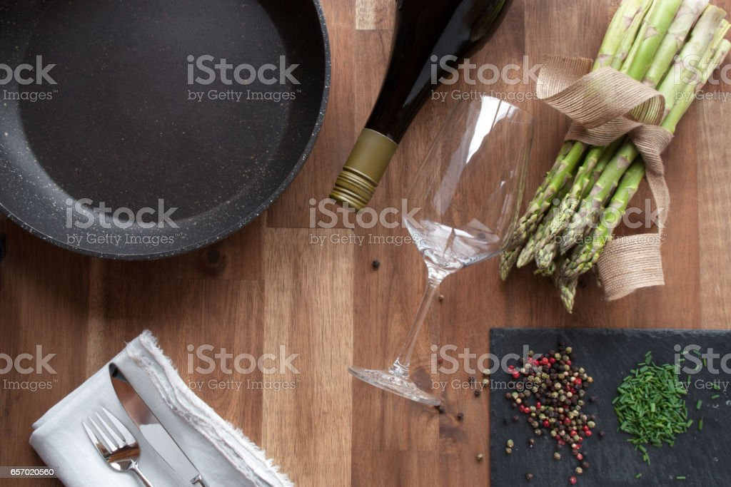 Preparing for fried asparagus stock photo