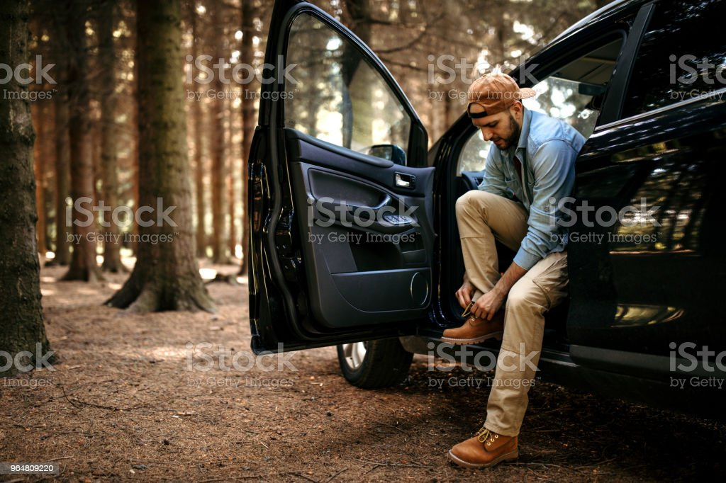 Preparing for long hiking royalty-free stock photo